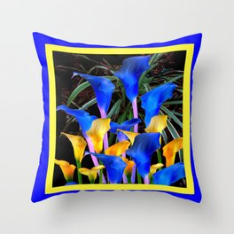 BLUE-BLACK MODERN ABSTRACT BLUE & GOLD CALLA LILIES Throw Pillow
