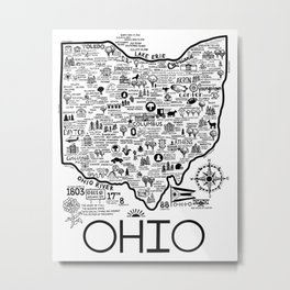Ohio Map Metal Print