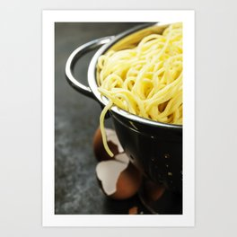spaghetti in colander on dark vintage background Art Print