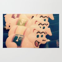pigs Area & Throw Rugs featuring Carnie Pigs by maybesparrowphotography