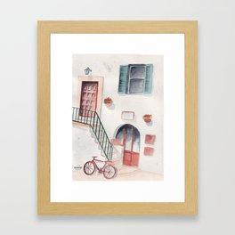 Italy street watercolor Framed Art Print