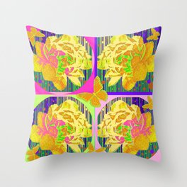 Yellow Summer Monarch  Butterfy Rose Abstract Throw Pillow