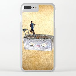 Running Treadmill on old Cassette Tape Clear iPhone Case