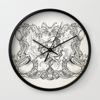coven Wall Clocks featuring The Flying Sabbath by Jorge jaramillo