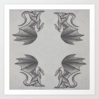 dragons Art Prints featuring Dragons by Dan Minnis