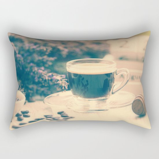 Coffee break in the Lavender Time Rectangular Pillow