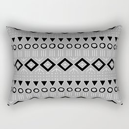 Bohemian Mudcloth Style 2 in Gray and Black Rectangular Pillow