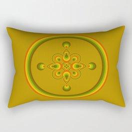 70s Circle Designs - Orange, Brown, Green Rectangular Pillow