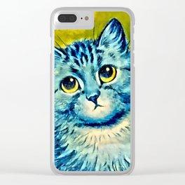 BLUE CAT - Louis Wain Art Clear iPhone Case