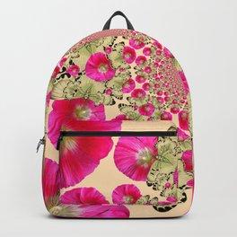 modern art cerise pink hollyhock & yellow butterflies Backpack