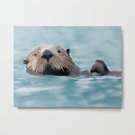 Swimming Otter Metal Print