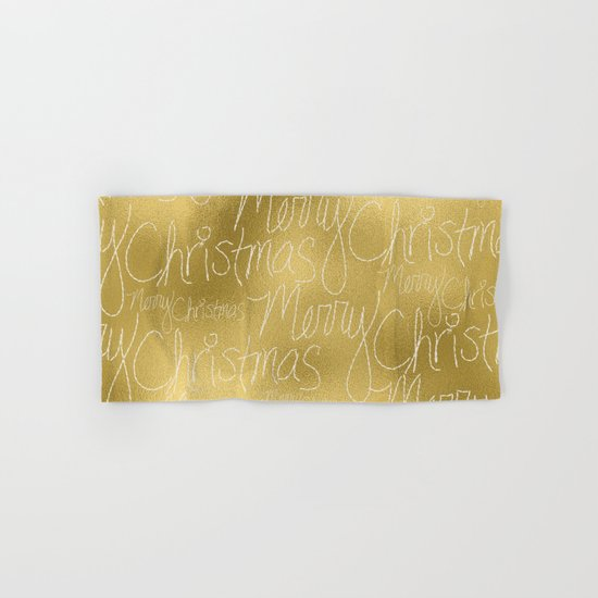 Merry christmas- christmas typography on gold pattern Hand & Bath Towel