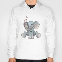 baby elephant Hoodies featuring Baby Elephant by Beryl Kruger