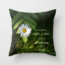 Clothed with Strength Throw Pillow