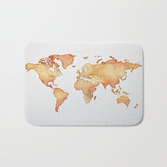 Brown World Map Bath Mat