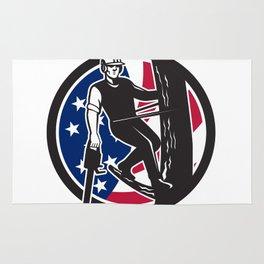 American Tree Surgeon USA Flag Icon Rug