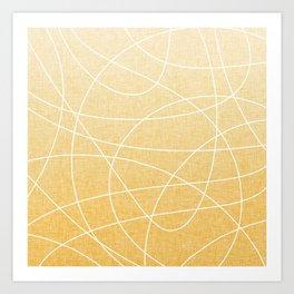 Scribble Linen - Sunflower Yellow Art Print