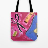 sewing Tote Bags featuring Sewing by Junkboxdoll