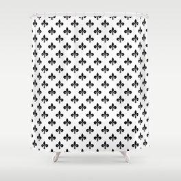Black French Fleur de Lis on White Shower Curtain