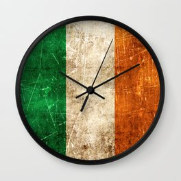 Vintage Aged and Scratched Irish Flag Wall Clock