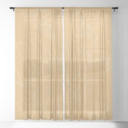 Monstera No2 Yellow Sheer Curtain