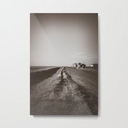 Walkin' on a Country Road, Sepia Metal Print
