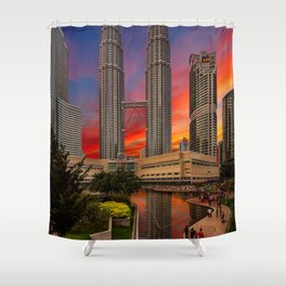 Petronas Towers Sunset Shower Curtain
