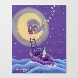 Penguin's Ladder Connects Boat to the Moon and the Singing Penguin Canvas Print