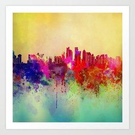 Colored Skyline Art Print