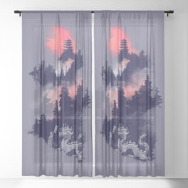 Samurai's life Sheer Curtain