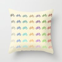 bicycles Throw Pillows featuring Bicycles by George Hatzis