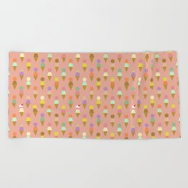 Ice Cream Cone Pattern Pink Robayre Beach Towel