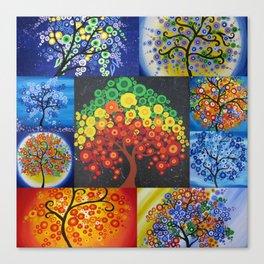 beautiful bright tree design designs artwork black green red yellow tree of life trees Canvas Print