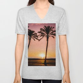 Orange bright sunset at the beach between palms Unisex V-Neck