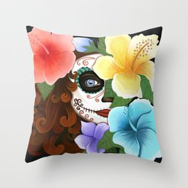 Day of the Hibiscus Throw Pillow