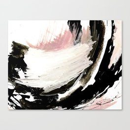 Crash: an abstract mixed media piece in black white and pink Canvas Print