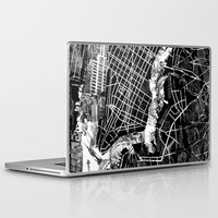 new york map Laptop & iPad Skins featuring New York map by Bekim ART