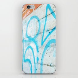 Blue graffiti on concrete wall iPhone Skin