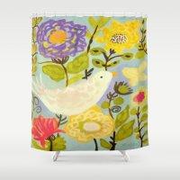 karen Shower Curtains featuring Bird and Butterfly Flowers by Karen Fields by Karen Fields Design