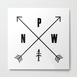 PNW Pacific Northwest Compass - Black on White Minimal Metal Print