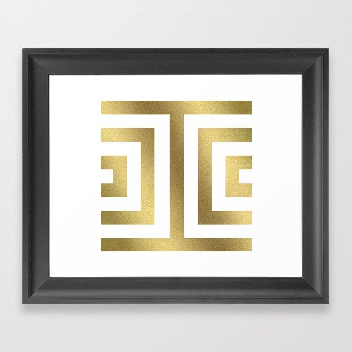 Gold Greek Stripes Gerahmter Kunstdruck