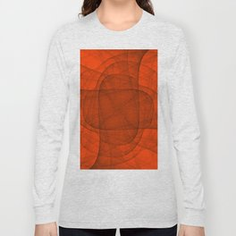 Fractal Eternal Rounded Cross in Red Long Sleeve T-shirt