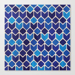 Retro blue abstract geometric art watercolor paint on paper texture illustration pattern Canvas Print