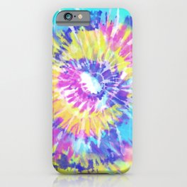 Tie Dye Spiral Pink Blue Yellow iPhone Case