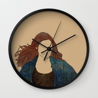 amy pond Wall Clocks featuring The Girl Who Waited, Amy Pond by Diddly's Shop