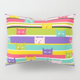 Colorful Peeking Cats on stripes Pillow Sham