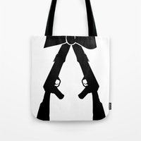 bow Tote Bags featuring Bow by Panic Junkie