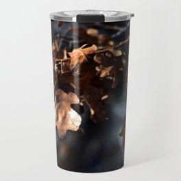 Winter oak leaves Travel Mug