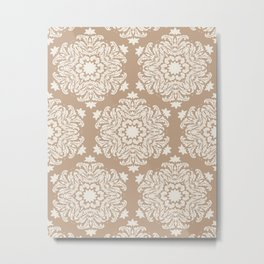 Floral Snowflake Damask Pattern – Neutral Brown and Cream Earth Tones Metal Print