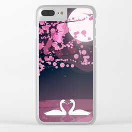 Swans and Cherry Blossoms Clear iPhone Case